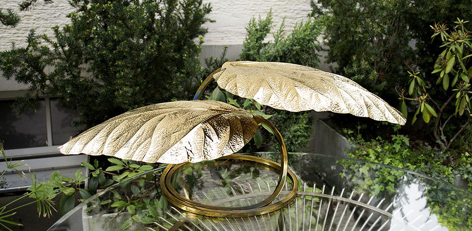 2 golden leaf lamp by tommaso barbi schlicht designm bel. Black Bedroom Furniture Sets. Home Design Ideas
