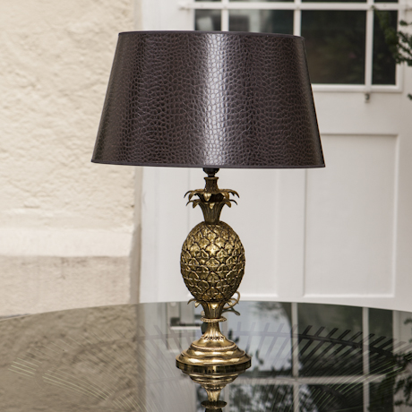 French_Golden_Pineapple_lamp_with_fake_croco_shade