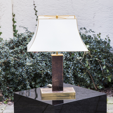 Aldo_Tura_Table_Lamp_Brown_Goatskin_Silk_Shade