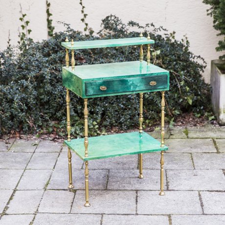 Aldo_Tura_Green_Goatskin_Side_Table