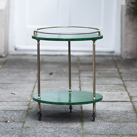Aldo_Tura_Green_Goatskin_Bar_Cart