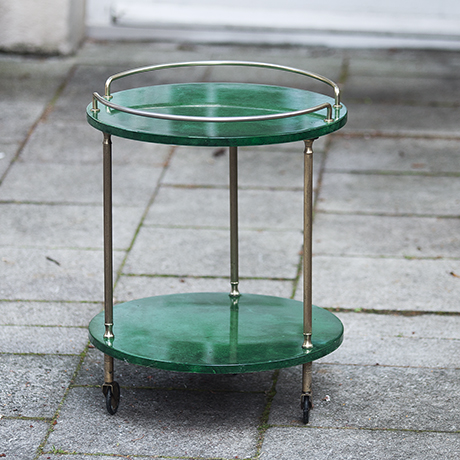 Aldo_Tura_Green Goatskin_Bar_Cart_grün_Wagen_interior_design_italy_italien_gold