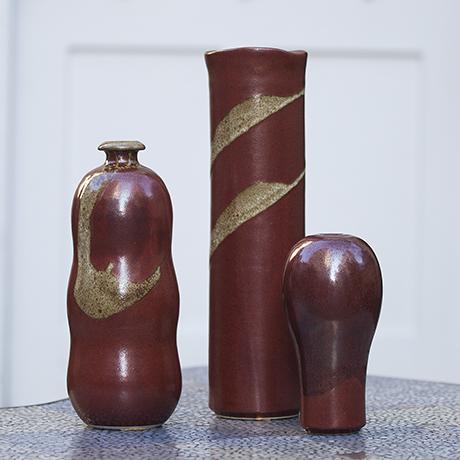 Horst Kerstan Art Pottery Red Golden Ceramic Vase Set Of 3