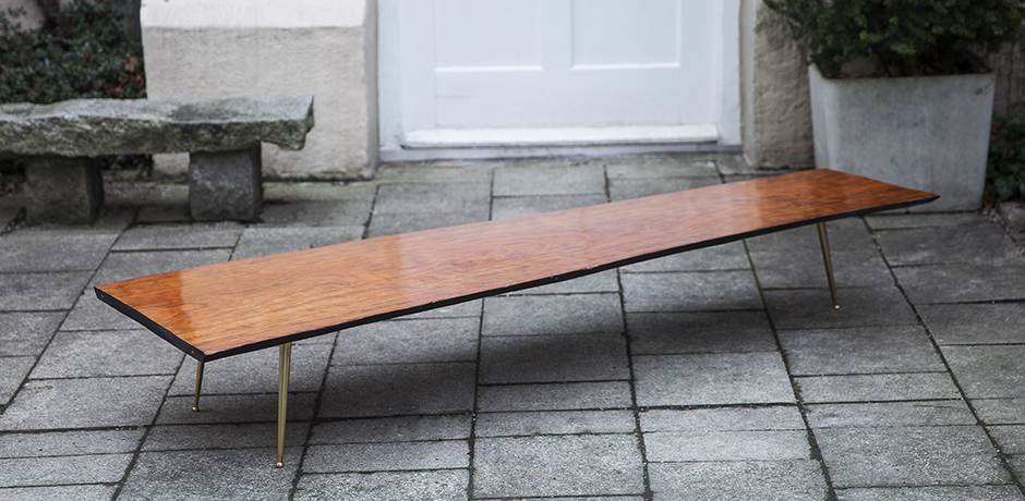 Glamorous Tripod Teak Coffee Table With Brass Legs