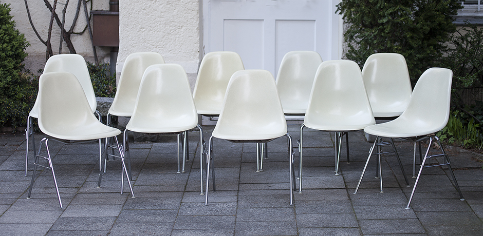 10 charles eames cream fiberglass stacking chair dss for Eames stuhle outlet