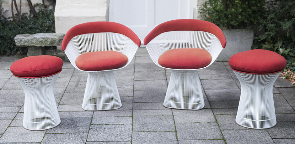 Platner_Knoll_armchairs_stools