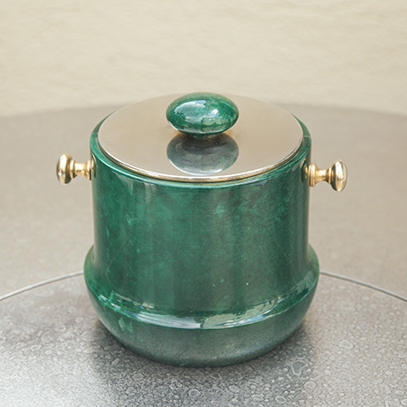 Aldo_Tura_ice_bucket_green_goatskin