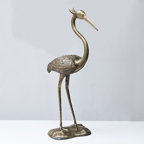 bird_heron_sculpture_object_brass