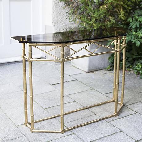 Schlichtes DesignKonsole-faux-bamboo-messing-glas