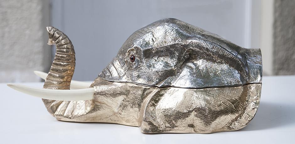 Franco-Lapini-elephant-Centerpiece-silver
