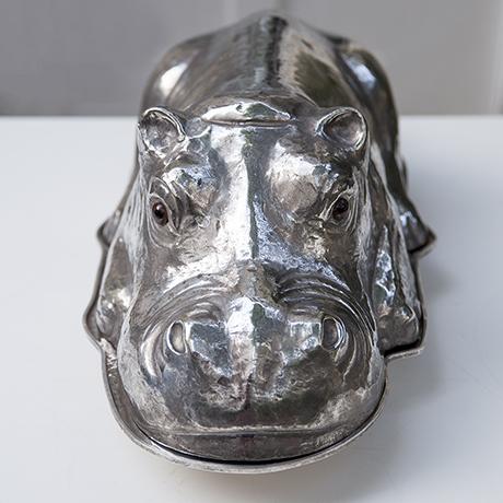 Franco-Lapini-hippo-servierteller-nilpferd-silber