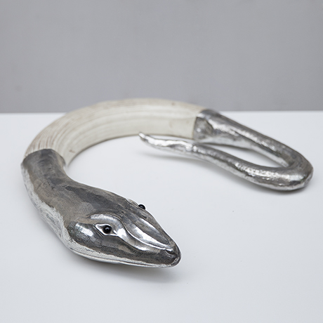 Franco-Lapini-snake-silver-sculpture