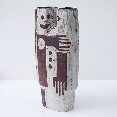 Helmuth-Schaeffenacker-vase-ceramic-red-white-clown