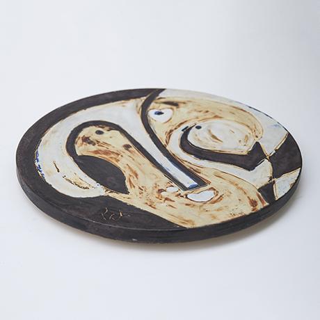 Helmuth-Schaeffenacker-keramik-wand-teller-braun-gelb-gesicht