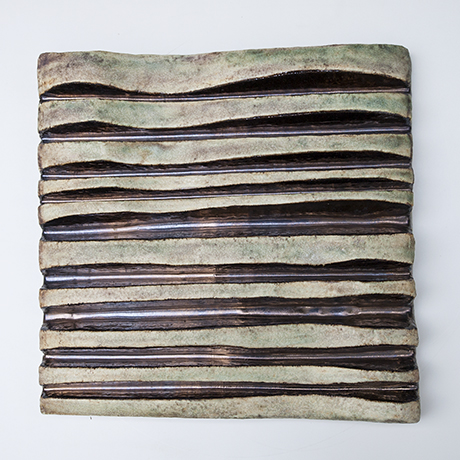 Helmuth-Schaeffenacker-wall-relief-waves-brown-ceramic