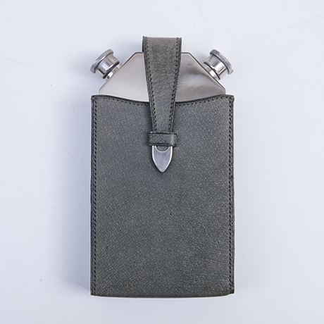 Gucci-hip-flask-leather-grey-silver-green