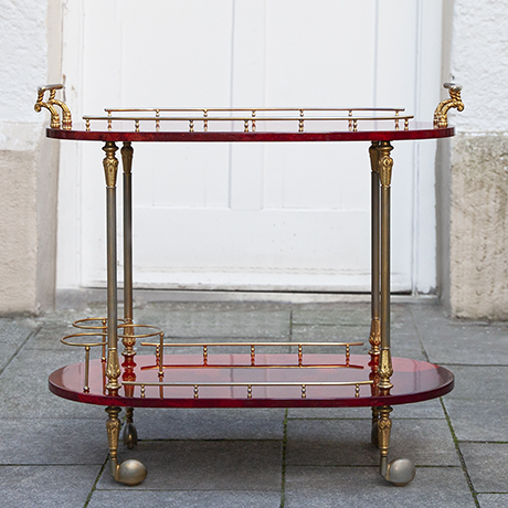 Aldo-Tura-bar-cart-red-goatskin