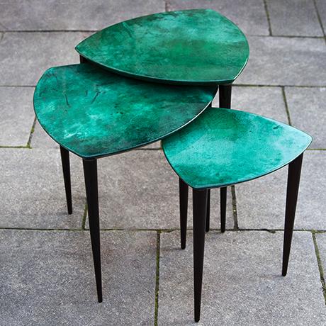 Aldo-Tura-nesting-tables-green