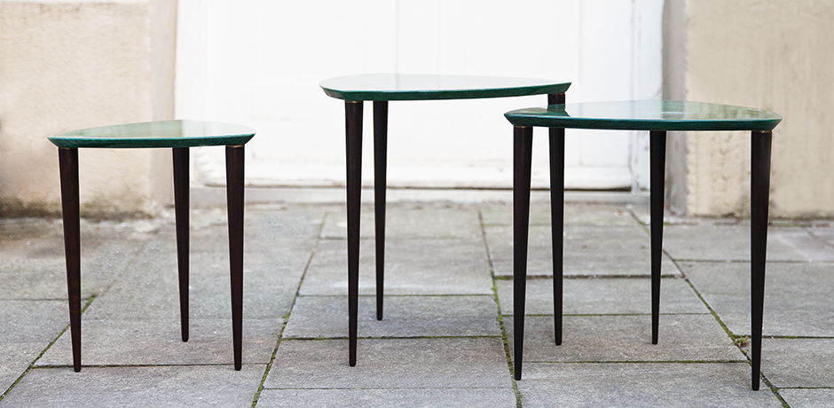 Aldo-Tura-nesting-tables-green-goatskin