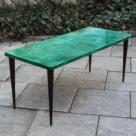 Aldo-Tura-side-table-green-goatskin