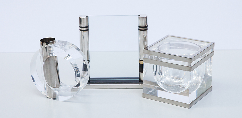 Albrizzi-lucite-bowl-picture-frame-vase-silver