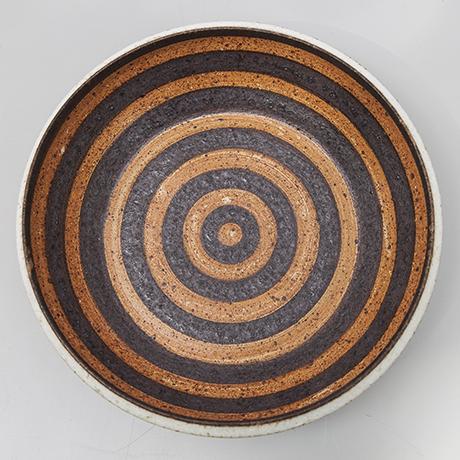Bruno-Gambone-plate-ceramic-red-black-striped