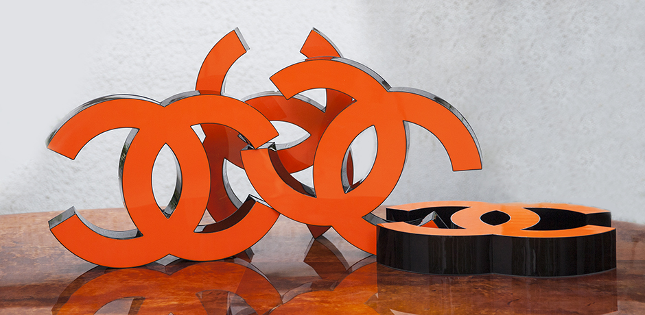 Coco-Chanel-letters-orange-advertising-sign