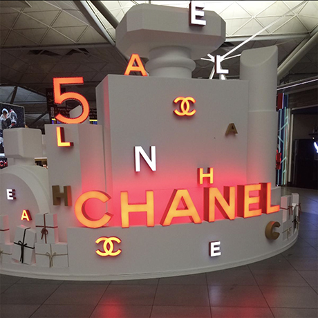Coco-Chanel-illuminated-letters-orange-advertising