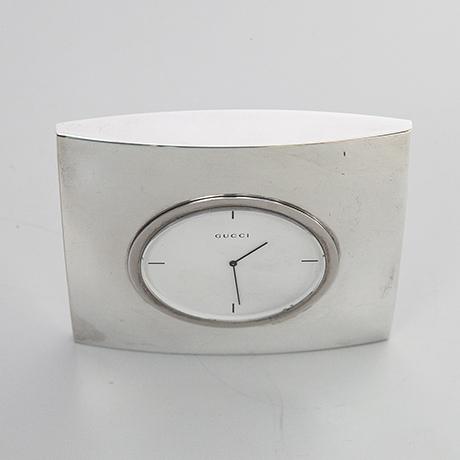 Gucci-Uhr-Tischuhr-silber