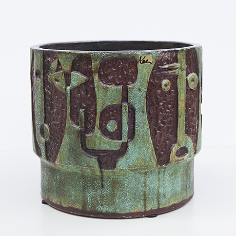 Schäffenacker-ceramic-vase-flower-pot-green-faces
