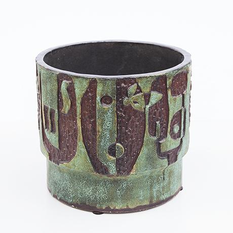Schäffenacker-ceramic-planter-green-faces