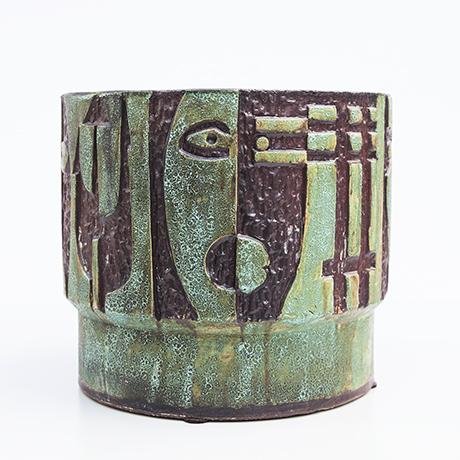 Schäffenacker-ceramic-vase-flower-pot-green-faces