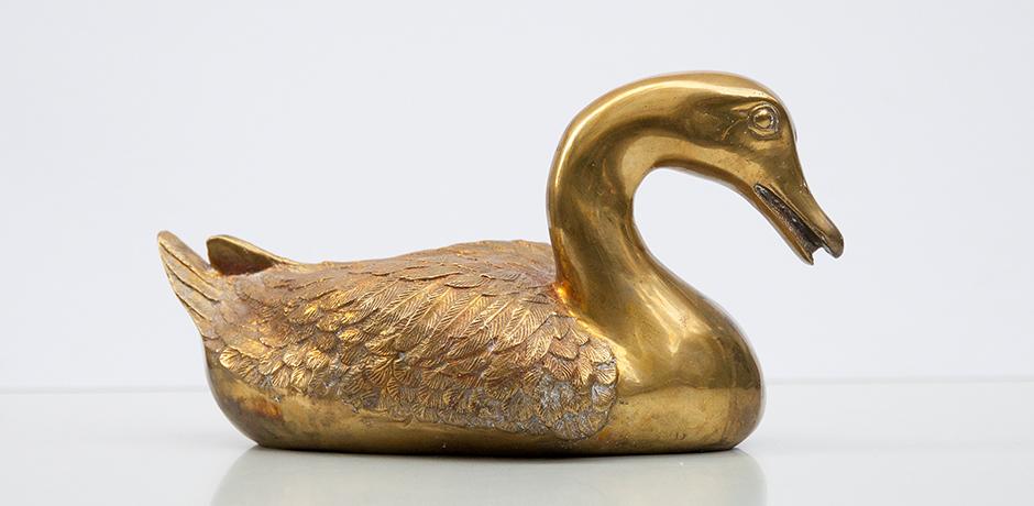 schwan-ente-figur-sculptur-messing-gold