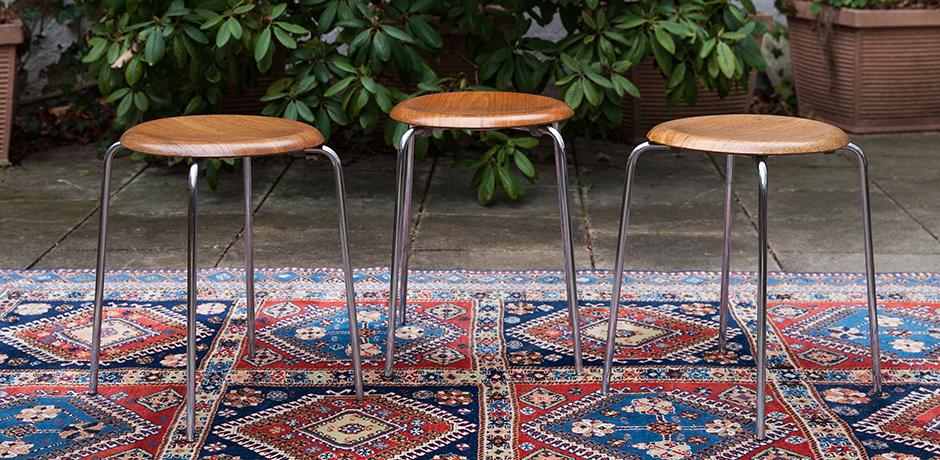 Arne-Jacobsen-Fritz-Hansen-dot-stool-teak