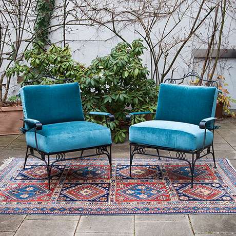 Easy-armchairs-blue-velvet