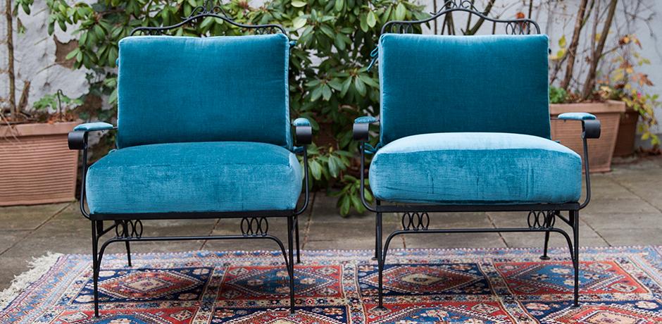 Easy-chairs-blue-velvet-fabric-rene-prou
