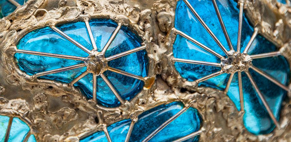 Fantoni-vase-blue-brown-metal