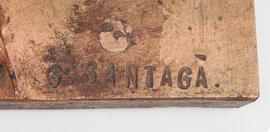 Santaga-bird-sculpture-bronze-signed