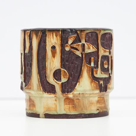 helmut-Schaeffenacker-vase-ceramic-faces-brown