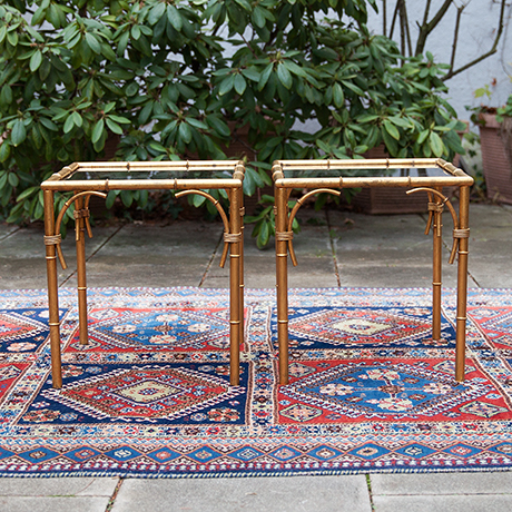 faux-bamboo-side-table-brown-glass