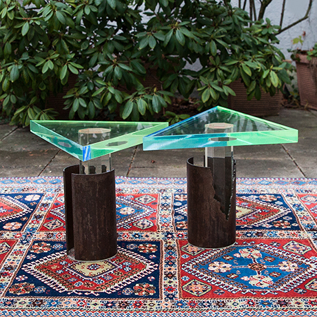 Schlichtes Designside-tables-plexiglass-bronze-green-blue