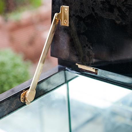 Aldo-Tura-bar-sideboard-anthracite-glass-shelves