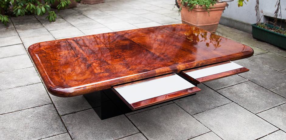 Aldo-Tura-coffee-table-brown-glass-shelves