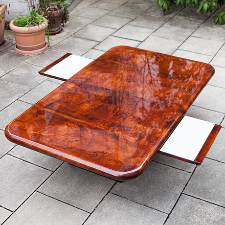 Aldo-Tura-dining-table-tobacco-mirror