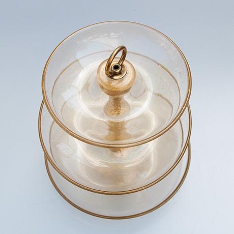 Barovier-etagere-Obstschale-Glasschale-gold