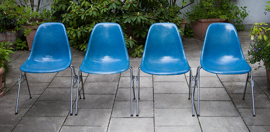 Charles-Eames-stacking-chairs-Miller-blue