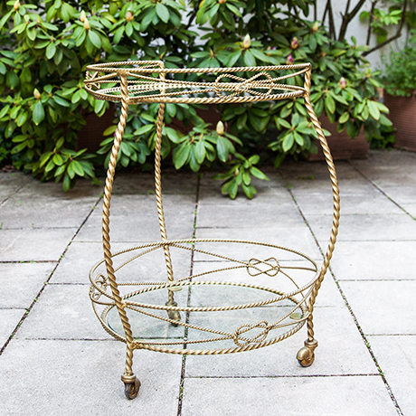 Schlichtes DesignHollywood-Regency-bar-cart-round-golden
