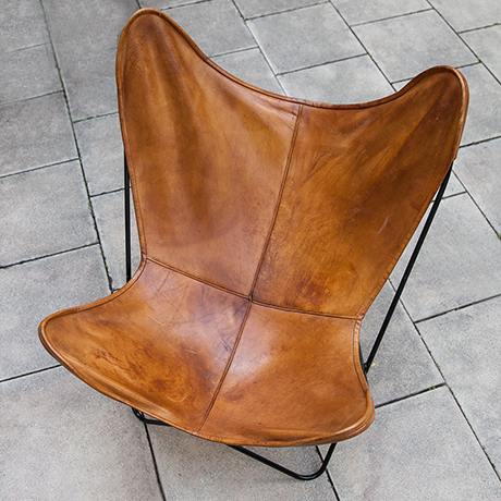Knoll-International-butterfly-chair-leather-brown-vintage