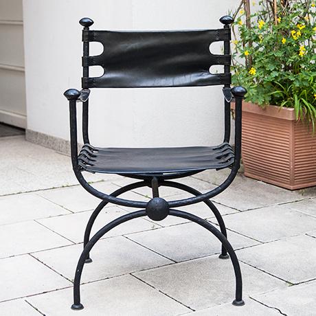 Maison-Jansen-chair-black-leather
