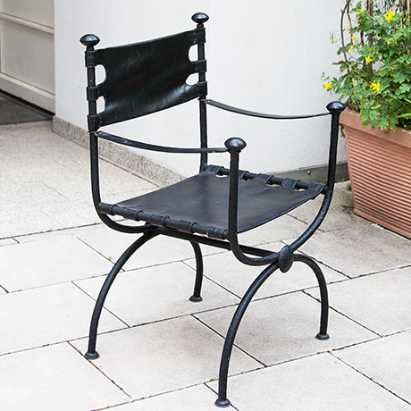 Maison-Jansen-chair-black-leather-midcentury